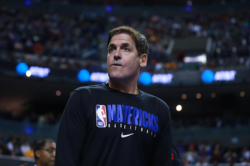 MEXICO CITY, MEXICO - DECEMBER 12: Mark Cuban, owner of the Dallas Mavericks looks on during a game between Dallas Mavericks and Detroit Pistons at Arena Ciudad de Mexico on December 12, 2019 in Mexico City, Mexico. (Photo by Hector Vivas/Getty Images)