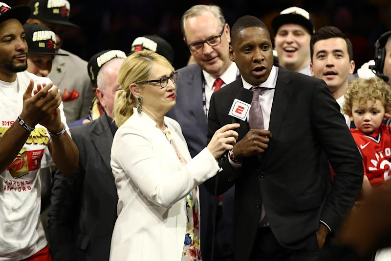 OAKLAND, CALIFORNIA - JUNE 13: General Manager of the Toronto Raptors Masai Ujiri is interviewed after his teams victory over the Golden State Warriors to win Game Six of the 2019 NBA Finals at ORACLE Arena on June 13, 2019 in Oakland, California. NOTE TO USER: User expressly acknowledges and agrees that, by downloading and or using this photograph, User is consenting to the terms and conditions of the Getty Images License Agreement. (Photo by Ezra Shaw/Getty Images)