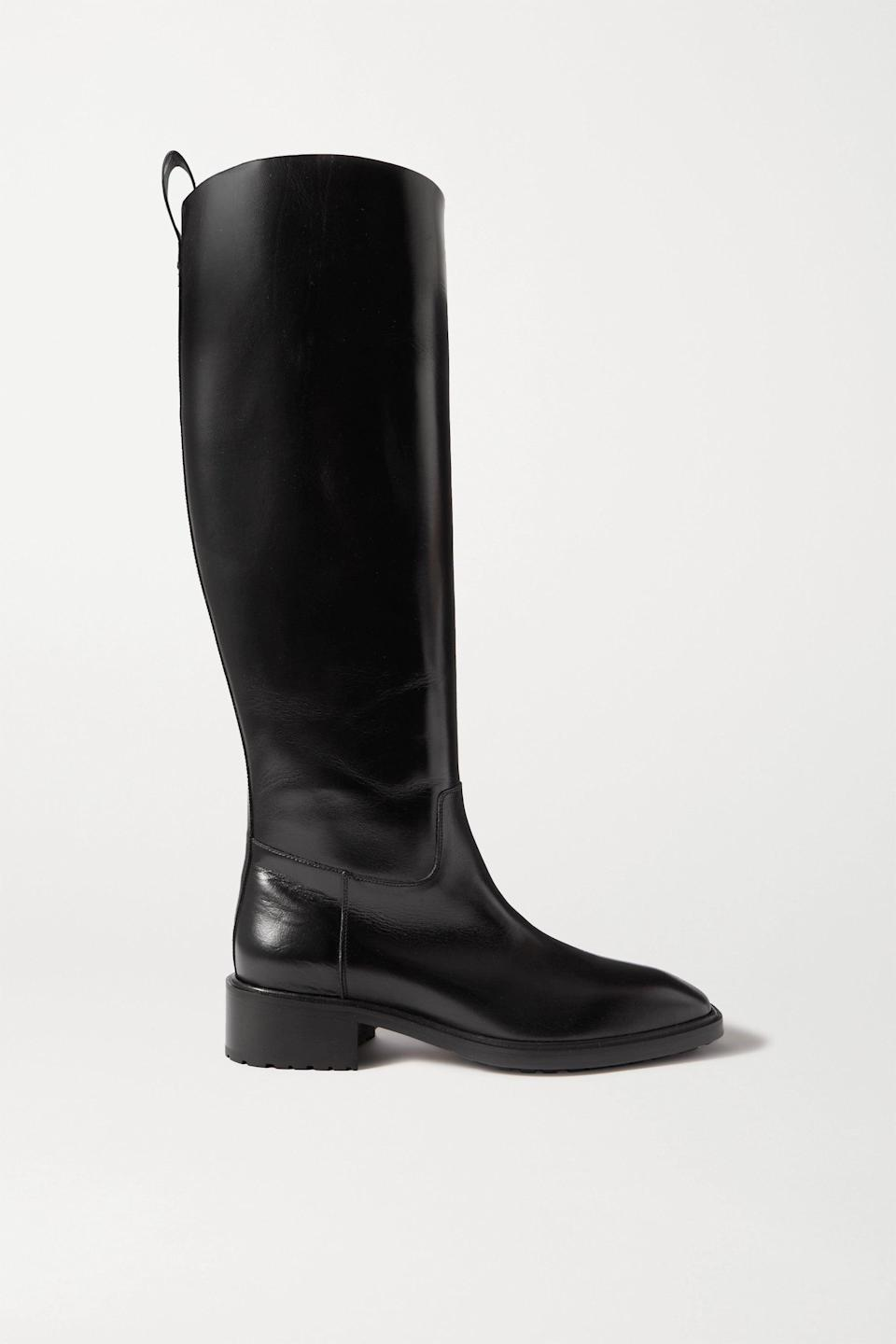 "<br><br><strong>aeydē</strong> Tammy Leather Knee Boots, $, available at <a href=""https://go.skimresources.com/?id=30283X879131&url=https%3A%2F%2Fwww.net-a-porter.com%2Fen-us%2Fshop%2Fproduct%2Faeyde%2Ftammy-leather-knee-boots%2F1301245"" rel=""nofollow noopener"" target=""_blank"" data-ylk=""slk:Net-A-Porter"" class=""link rapid-noclick-resp"">Net-A-Porter</a>"