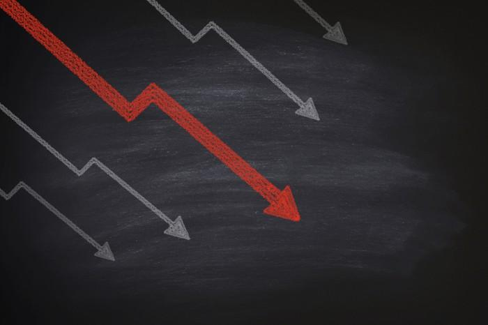 Multiple declining lines and arrows on a chalkboard.