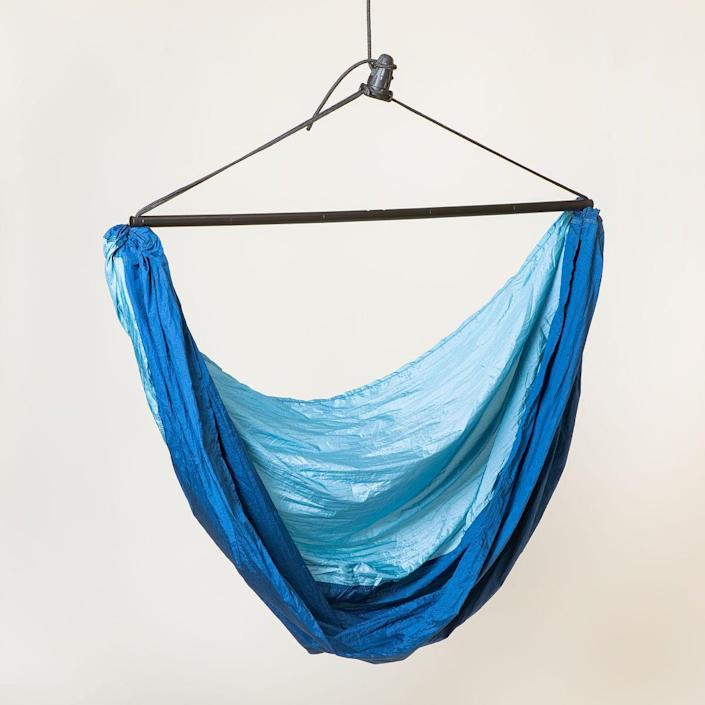 """<h2>Uncommon Goods Travel Hammock Chair</h2>If you're heading someplace with lots of sturdy trees, pack this collapsible hammock chair. Most canvas chairs require two points of stability to hang, but this compact travel chair relies on finding just one post to loop around.<br><br><em>Shop<strong> <a href=""""https://www.uncommongoods.com/product/travel-hammock-chair"""" rel=""""nofollow noopener"""" target=""""_blank"""" data-ylk=""""slk:Uncommon Goods"""" class=""""link rapid-noclick-resp"""">Uncommon Goods</a></strong></em><br><br><strong>Uncommon Goods</strong> Travel Hammock Chair, $, available at <a href=""""https://go.skimresources.com/?id=30283X879131&url=https%3A%2F%2Fwww.uncommongoods.com%2Fproduct%2Ftravel-hammock-chair"""" rel=""""nofollow noopener"""" target=""""_blank"""" data-ylk=""""slk:Uncommon Goods"""" class=""""link rapid-noclick-resp"""">Uncommon Goods</a>"""