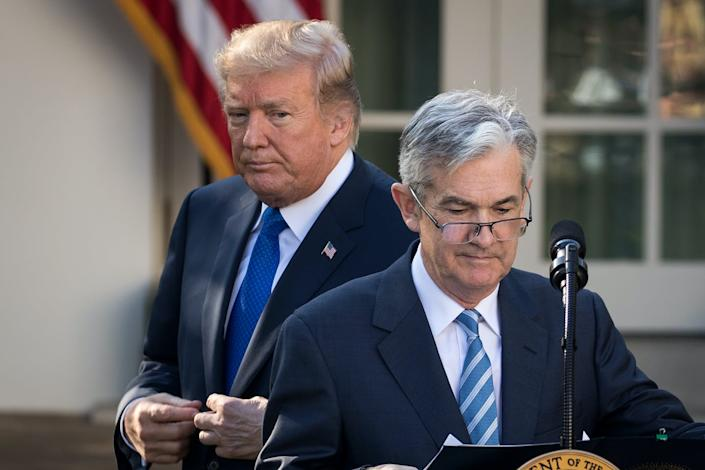 """<span class=""""caption"""">Trump slammed Fed Chair Jerome Powell repeatedly in 2019 over interest rate policy.</span> <span class=""""attribution""""><span class=""""source"""">Drew Angerer/Getty Images</span></span>"""