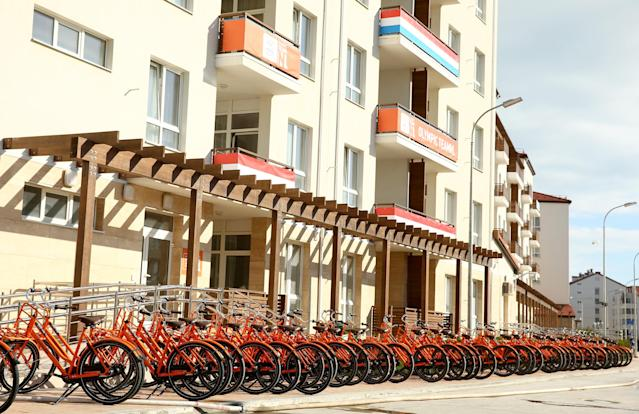 SOCHI, RUSSIA - FEBRUARY 04: A general view of the Netherlands team lodgings and bikes ahead of the Sochi 2014 Winter Olympics at the Athletes Olympic Village on February 4, 2014 in Sochi, Russia. (Photo by Quinn Rooney/Getty Images)