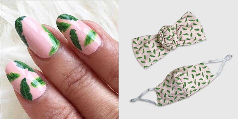"<div class=""caption""> A cloth face covering and headband set, with the palm tree manicure that inspired it. <a href=""https://www.bandingtogetherproject.com/product/the-editors-knotted-set-1/"" rel=""nofollow noopener"" target=""_blank"" data-ylk=""slk:Shop now."" class=""link rapid-noclick-resp"">Shop now.</a> </div>"