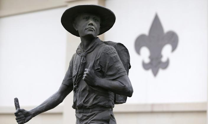 A statue of a Boy Scout in front of the National Scouting Museum at the organization's Irving, Texas, headquarters. Much of Boy Scout property actually is owned by regional councils across the country rather than the national council, which claimed just $240 million in land assets in its 2018 tax filings.