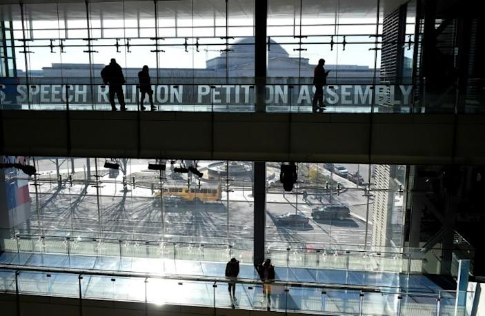 Visitors tour the Newseum on Pennsylvania Avenue, which will be closing December 31 after 12 years in Washington (AFP Photo/Olivier Douliery)