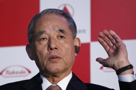 Yasuchika Hasegawa, next chairman and current CEO and president of Takeda Pharmaceutical Co., speaks during a news conference in Tokyo