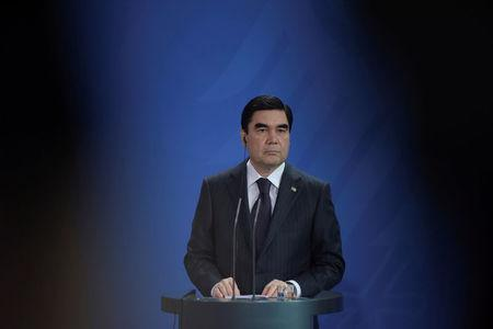 FILE PHOTO: President of Turkmenistan Kurbanguly Berdymukhamedov attends a news conference in Berlin, Germany August 29, 2016. REUTERS/Stefanie Loos/File Photo