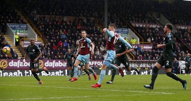 "Soccer Football - Premier League - Burnley vs Manchester City - Turf Moor, Burnley, Britain - February 3, 2018 Burnley's Johann Berg Gudmundsson scores their first goal REUTERS/Andrew Yates EDITORIAL USE ONLY. No use with unauthorized audio, video, data, fixture lists, club/league logos or ""live"" services. Online in-match use limited to 75 images, no video emulation. No use in betting, games or single club/league/player publications. Please contact your account representative for further details."