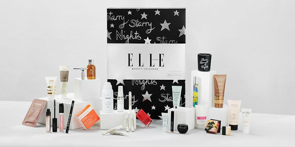 """<p>This year's beauty advent calendar from the editors at ELLE is a veritable who's who of top brands, with products from Marc Jacobs Beauty, Aveda, Sisley, Bobbi Brown and Benefit. It tots up to £530 worth of beauty, and they've even thrown in a 12 month subscription to ELLE. The design is an exclusive from Bella Freud, who – spoiler alert – has added her 'Starry Nights' candle to the mix. £125, <a href=""""https://www.hearstmagazines.co.uk/elle-beauty-advent-calendar-website"""" rel=""""nofollow noopener"""" target=""""_blank"""" data-ylk=""""slk:hearstmagazines.co.uk"""" class=""""link rapid-noclick-resp"""">hearstmagazines.co.uk</a></p>"""
