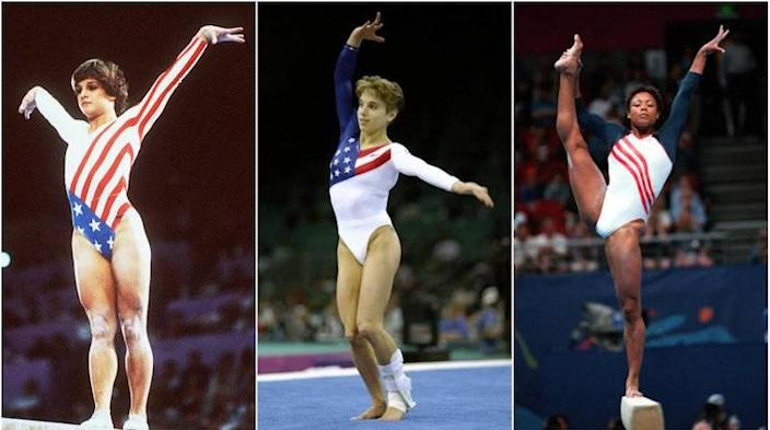 Left to right: Mary Lou Retton, 1984, Kerry Strugg, 1996 and Dominique Dawes, 2000.