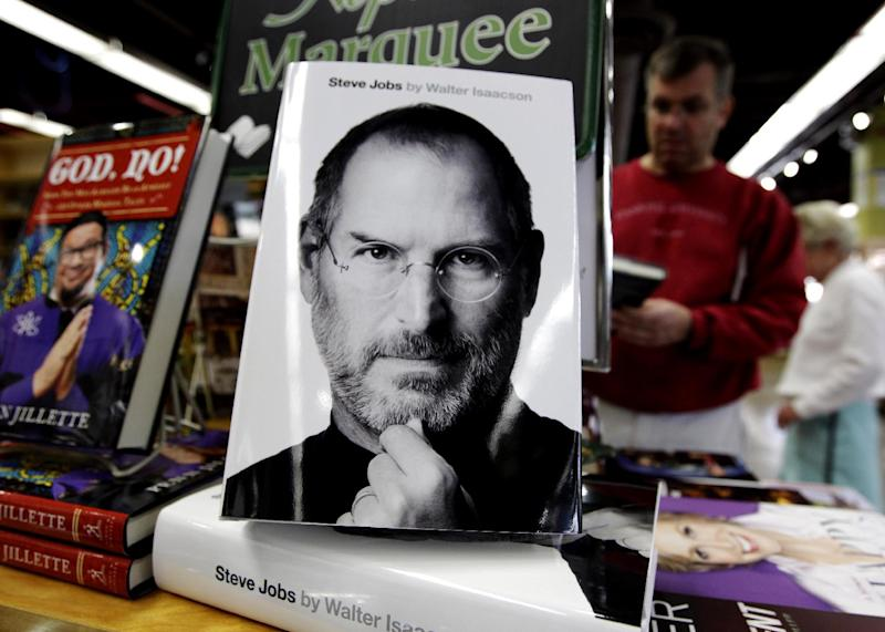 "FILE - In this Oct. 24, 2011 file photo, the book ""Steve Jobs,"" by Walter Isaacson sits on display at a bookshop in Menlo Park, Calif.  The book was one of the best-sellers in 2011. (AP Photo/Paul Sakuma, File)"