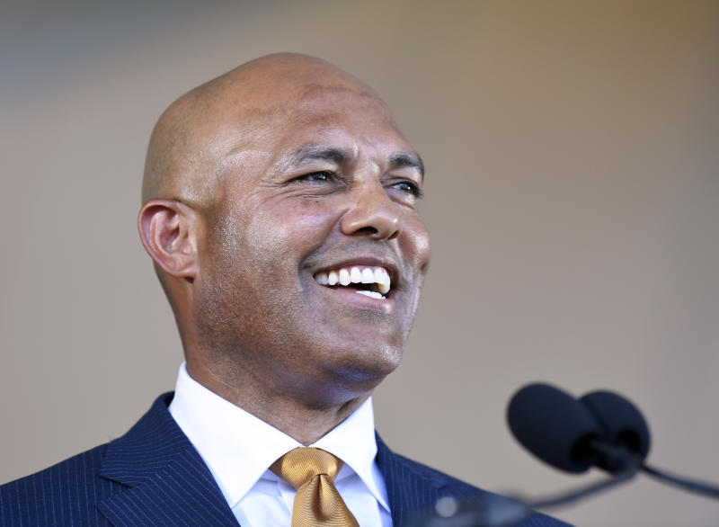 Former New York Yankees pitcher and National Baseball Hall of Fame inductee Mariano Rivera speaks during the induction ceremony at the Clark Sports Center, Sunday, July 21, 2019, in Cooperstown, N.Y. (AP Photo/Hans Pennink)