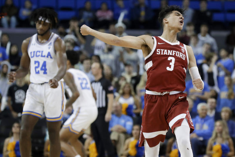 Stanford guard Tyrell Terry celebrates after scoring against UCLA during the second half of an NCAA college basketball game in Los Angeles, Wednesday, Jan. 15, 2020. (AP Photo/Chris Carlson)