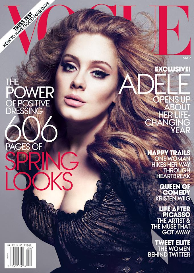 "A day after winning a whopping six Grammys for her hit album ""21,"" Adele's gorgeous photo spread for Vogue was released. The singer graces the cover of the mag's March 2012 issue. Click through to see more of Adele's beautiful Vogue photos. (Mert Alas and Marcus Piggott/Vogue)"
