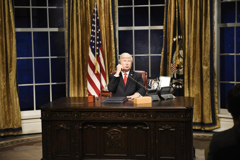 """SATURDAY NIGHT LIVE -- """"Woody Harrelson"""" Episode 1768 -- Pictured: Alec Baldwin as Donald Trump during the """"Impeachment"""" Cold Open on Saturday, September 28, 2019 -- (Photo by: Will Heath/NBC/NBCU Photo Bank via Getty Images)"""
