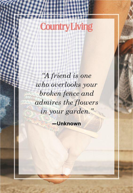 "<p>""A friend is one who overlooks your broken fence and admires the flowers in your garden.""</p>"