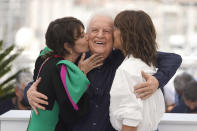 Geraldine Pailhas, from left, Andre Dussollier, and Sophie Marceau pose for photographers at the photo call for the film 'Everything Went Fine' at the 74th international film festival, Cannes, southern France, Thursday, July 8, 2021. (AP Photo/Brynn Anderson)