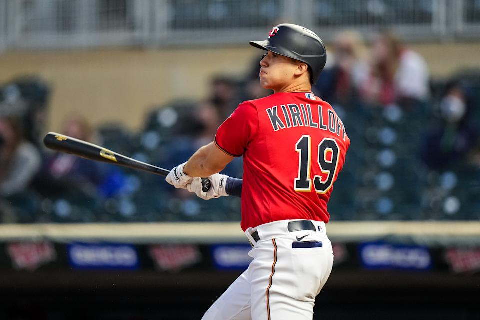 MINNEAPOLIS, MN - APRIL 30: Alex Kirilloff #19 of the Minnesota Twins bats and hits his first career home run against the Kansas City Royals on April 30, 2021 at Target Field in Minneapolis, Minnesota. (Photo by Brace Hemmelgarn/Minnesota Twins/Getty Images)