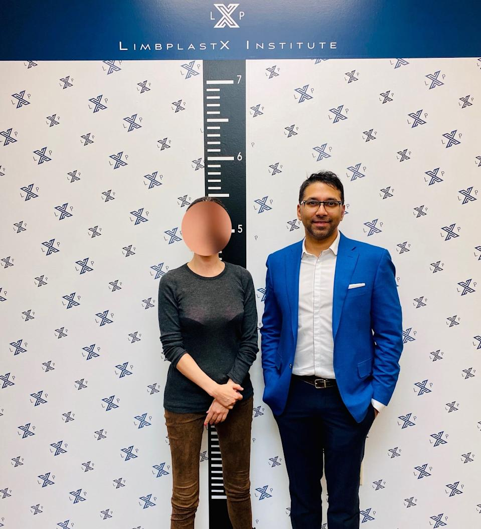 Emily with her surgeon, Dr Debiparshad, two months after her leg lengthening procedure. Photo: supplied.