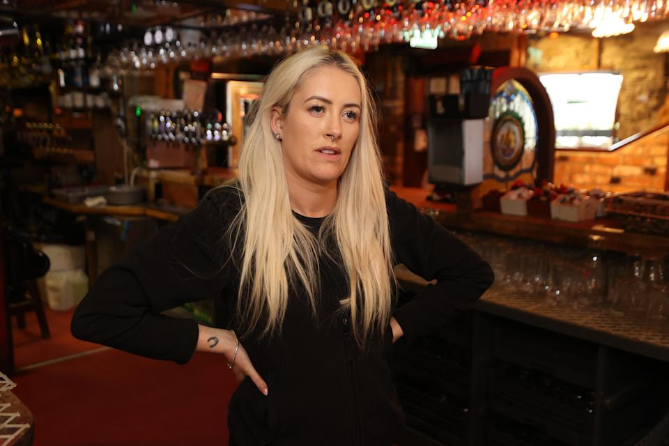 "Aisling Johnston, Manager at Taaffes Castle Bar, Carlingford, Co Louth, the. picturesque border town, which has been ""hollowed into a shell"" by coronavirus and Brexit, the publican said."