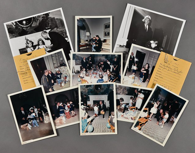 """Photos from a birthday party for JFK Jr. taken in December, 1963. <a href=""""http://www.mcinnisauctions.com/"""" rel=""""nofollow noopener"""" target=""""_blank"""" data-ylk=""""slk:(Photo courtesy of John McInnis Auctioneers)"""" class=""""link rapid-noclick-resp"""">(Photo courtesy of John McInnis Auctioneers)</a>"""