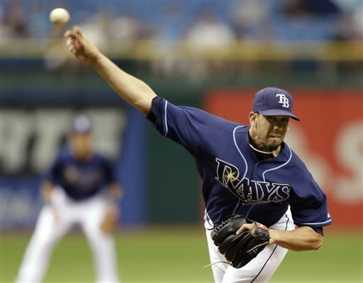 Tampa Bay Rays starting pitcher James Shields delivers to the Kansas City Royals during the first inning of a baseball game, Wednesday, Aug. 22, 2012, in St. Petersburg, Fla. (AP Photo/Chris O'Meara)
