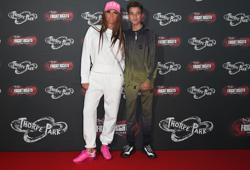 Katie Price and son Junior arrive at Thorpe Park Resort during the launch of FRIGHT NIGHTS. (Photo by Chris Radburn/PA Images via Getty Images)