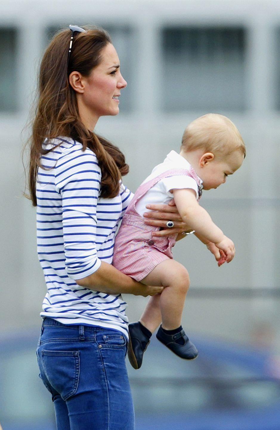 <p>The Duchess of Cambridge and Prince George both wore stripes to see Prince William and Prince Harry play in the Jerudong Trophy charity polo match. </p>
