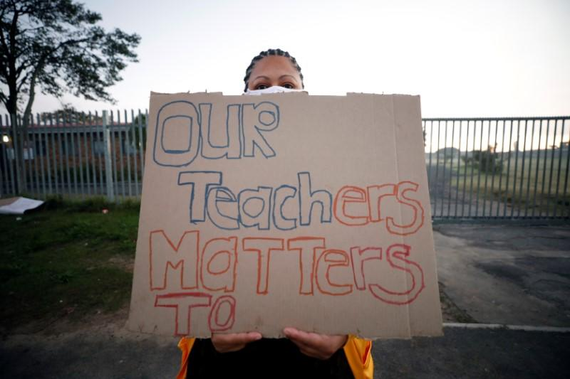 Parents and community members protest against the return of learners to school during the coronavirus disease (COVID19) outbreak in Cape Town