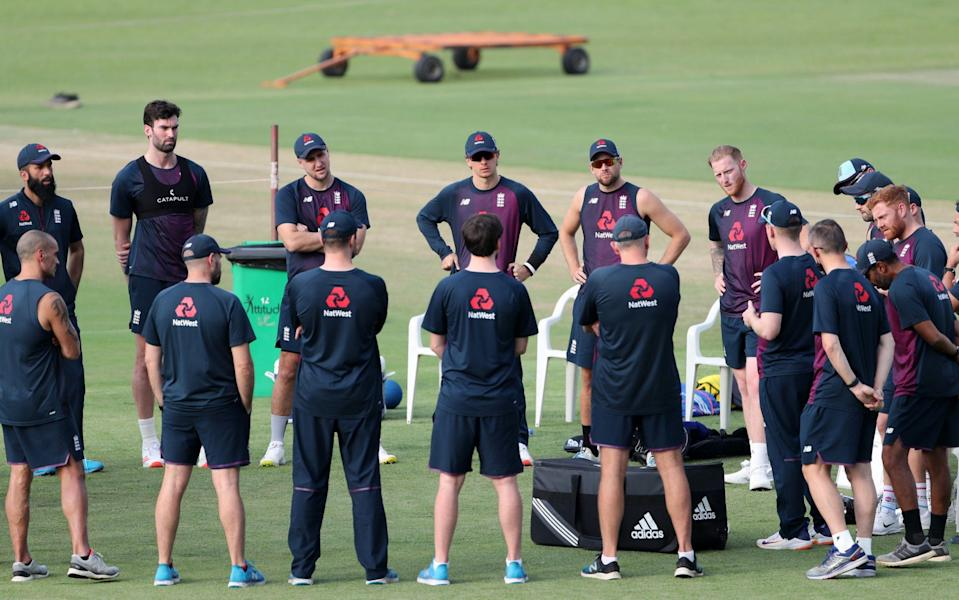 England huddle during a Net Session at Maharashtra Cricket Association Stadium in Pune - Surjeet Yadav/Getty Images AsiaPac