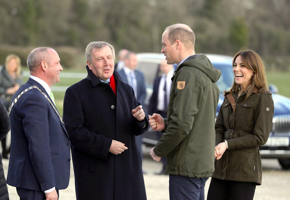 The Duke and Duchess of Cambridge Meeting Agriculture Minister Michael Creed (second left) during a visit to the Teagasc Animal & Grassland Research Centre at Grange, in County Meath, as part of their three day visit to the Republic of Ireland.