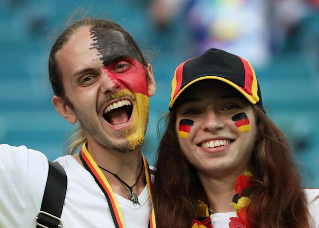 Soccer Football - World Cup - Group F - Germany vs Sweden - Fisht Stadium, Sochi, Russia - June 23, 2018 Germany fans before the match REUTERS/Francois Lenoir