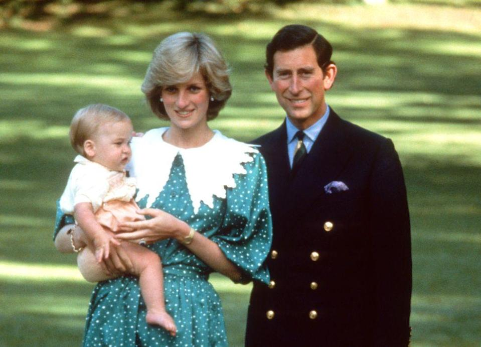 <p>Princess Diana wearing a green dress with white polka dots and a white puritan collar designed by Donald Campbell, poses with Prince Charles and their baby son, Prince William, in the gardens of Government House in Auckland, New Zealand, in April 1983.</p>