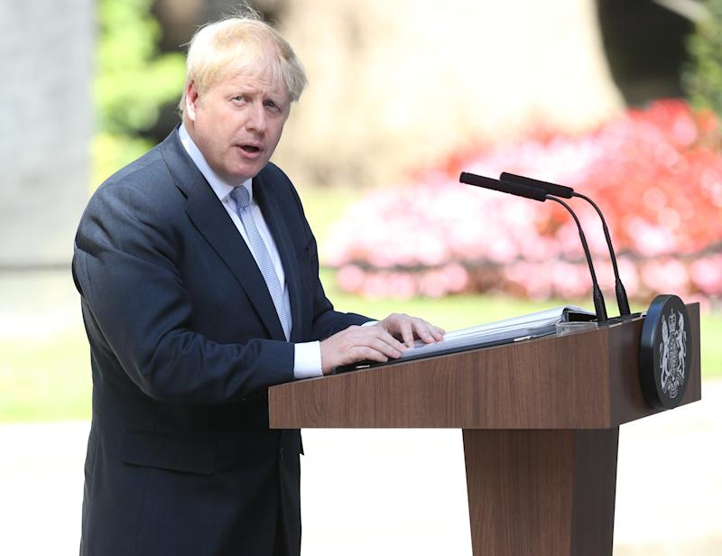 New Prime Minister Boris Johnson makes a speech outside 10 Downing Street, London, after meeting Queen Elizabeth II and accepting her invitation to become Prime Minister and form a new government.