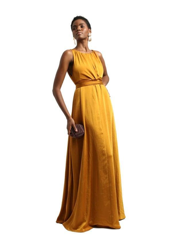 """<h2>Andrea Iyamah Savana Dress In Gold</h2><br>Whether you wear this convertible satin dress with the belted front wrapped around your waist or tied in a gentle, loose knot, one thing is clear: you'll literally be as fair as the sun on your big day, thanks to this light-catching sunset-hued shade of gold.<br><br><em>Shop <strong><a href=""""https://www.andreaiyamah.com/"""" rel=""""nofollow noopener"""" target=""""_blank"""" data-ylk=""""slk:Andrea Iyamah"""" class=""""link rapid-noclick-resp"""">Andrea Iyamah</a></strong></em><br><br><strong>Andrea Iyamah</strong> SAVANA Dress, $, available at <a href=""""https://go.skimresources.com/?id=30283X879131&url=https%3A%2F%2Fwww.andreaiyamah.com%2Fcollections%2Fdresses-1%2Fproducts%2Fsavana-dress"""" rel=""""nofollow noopener"""" target=""""_blank"""" data-ylk=""""slk:Andrea Iyamah"""" class=""""link rapid-noclick-resp"""">Andrea Iyamah</a>"""