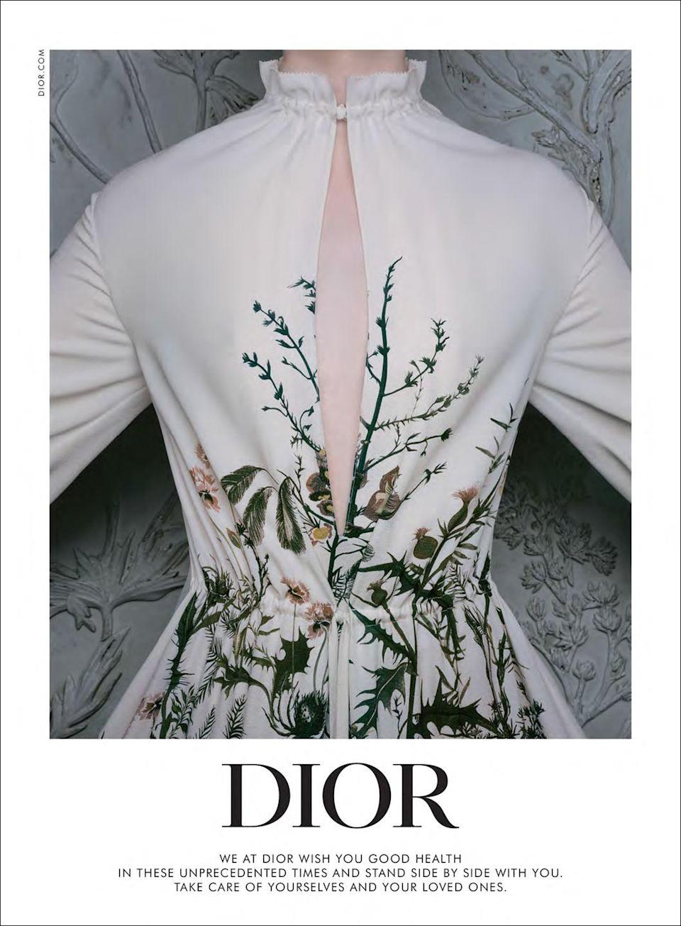 <p>We at Dior wish you good health in these unprecedented times and stand side by side with you. Take care of yourselves and your loved ones.</p>