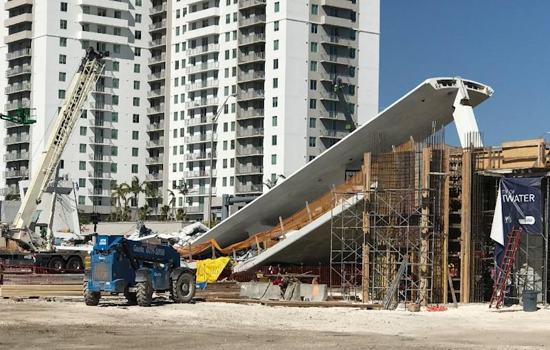 The pedestrian bridge that collapsed in Miami had only been installed over the weekend (AFP Photo/Antoni BELCHI)