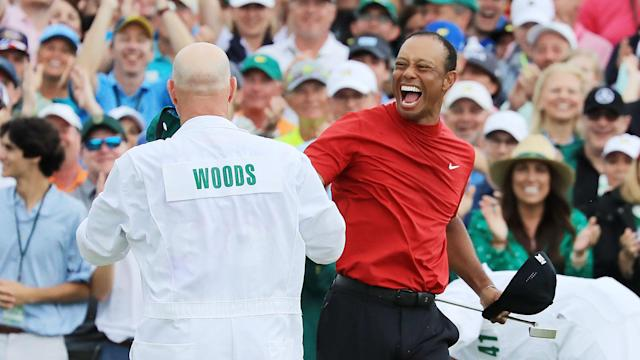 "After winning the Masters for the first time since 2005 to end an 11-year major drought, Tiger Woods was ""kind of at a loss of words""."