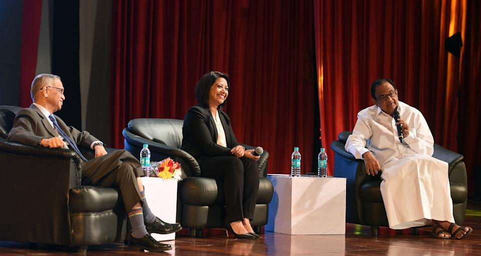 MUMBAI, INDIA  DECEMBER 22: Former Finance Minister P Chidambaram, Indian IT industrialist NR Narayana Murthy and Indian Journalist Faye D'souza on Panel Discussion at Mood Indigo Cultural Festival at IIT Bombay, Powai on December 22, 2017 in Mumbai, India.  (Photo by Satyabrata Tripathy/Hindustan Times via Getty Images)