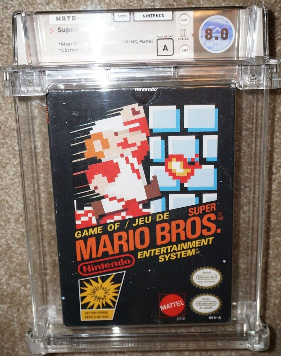 """<p>Sometimes, nothing is better than the original. A sticker-sealed copy of the 1985 original Super Mario Bros game for Nintendo Entertainment System is currently listed for <a href=""""https://www.ebay.com/itm/Super-Mario-Bros-Nintendo-NES-WATA-A-8-0-Canadian-Gloss-Sticker-Sealed-NEW-/254553168695?_trksid=p2349526.m4383.l4275.c1#viTabs_0"""" rel=""""nofollow noopener"""" target=""""_blank"""" data-ylk=""""slk:$7,999.99"""" class=""""link rapid-noclick-resp"""">$7,999.99</a> on eBay. </p>"""