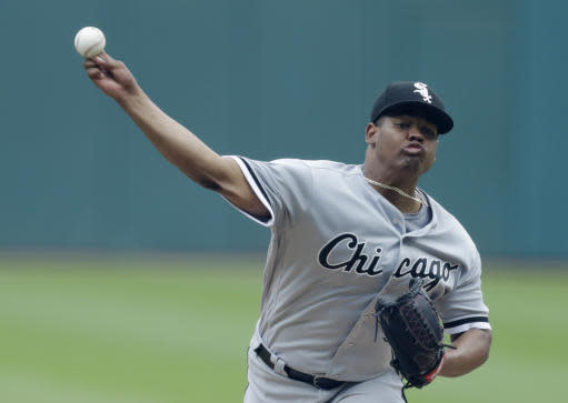 Chicago White Sox starting pitcher Reynaldo Lopez delivers in the first inning of a baseball game against the Cleveland Indians, Wednesday, June 20, 2018, in Cleveland. (AP Photo/Tony Dejak)
