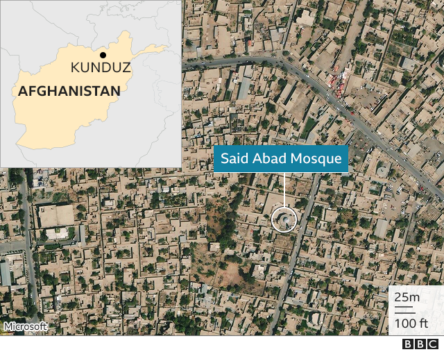 Map showing the location of the mosque