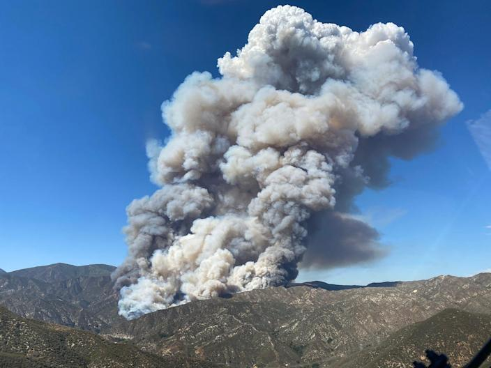 A brush fire, dubbed the Lake Fire, erupted in Lake Hughes, an unincorporated area of Los Angeles County north of Santa Clarita Wednesday afternoon. Plumes from the blaze could be seen throughout Ventura County.