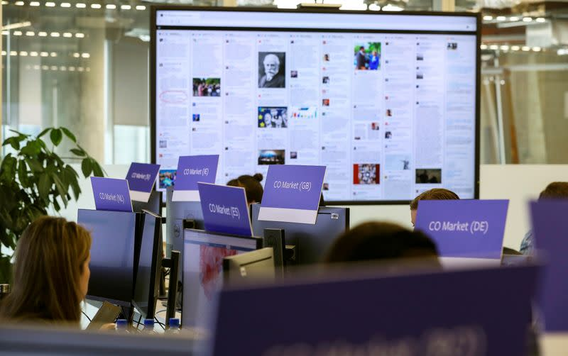 FILE PHOTO: General view of Facebook's elections operation centre in Dublin