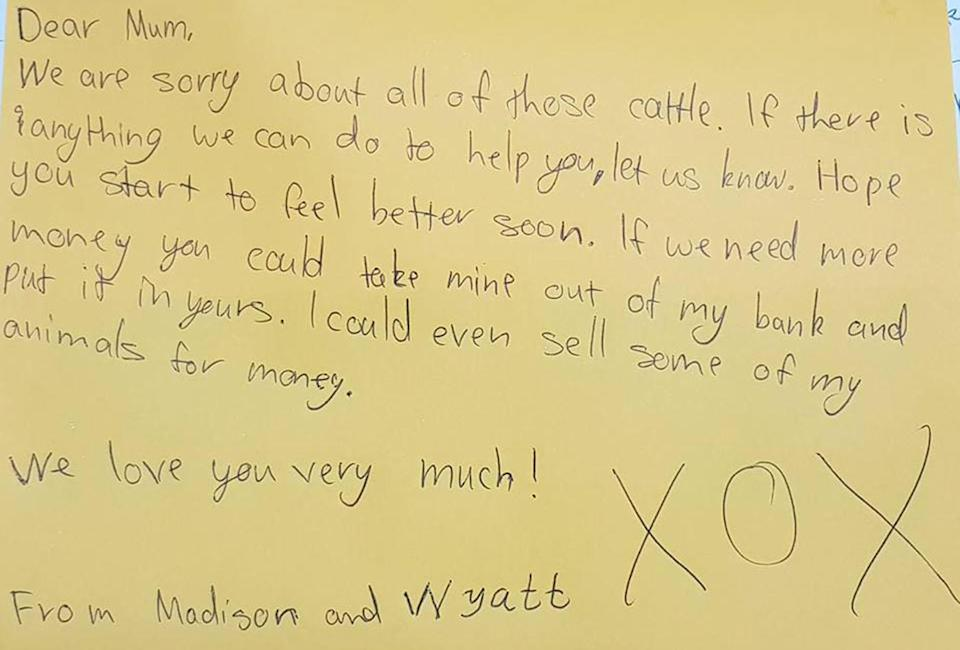 The mother was brought to tears by the letter her children wrote to her. Source: Jaye Hall/ Facebook