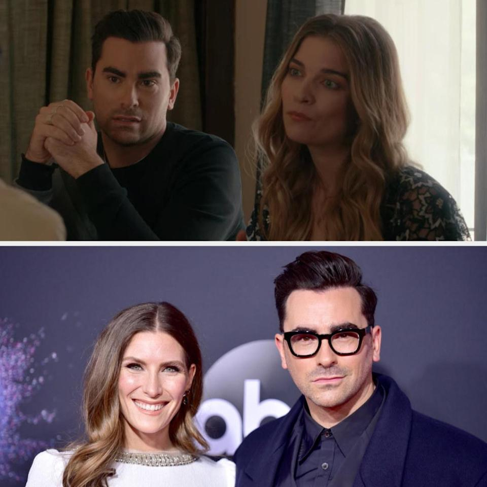 Above, David and Alexis are at a leasing office. Below, Daniel Levy is with his sister Sarah at the American Music Awards