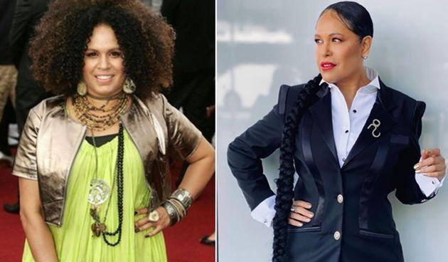 Christine Anu at the ARIA Awards in 2007 (L) and in 2020 (R)