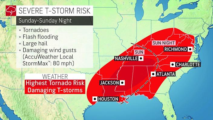 Severe weather, including tornadoes, is forecast for much of the Southeast on Easter, according to AccuWeather.