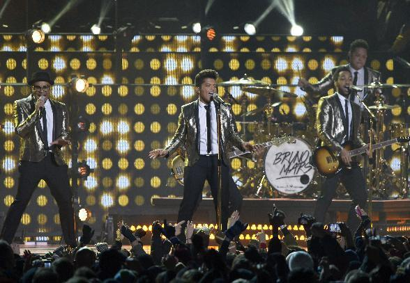 Bruno Mars performs performs during the halftime show of the NFL Super Bowl XLVIII football game between the Seattle Seahawks and the Denver Broncos Sunday, Feb. 2, 2014, in East Rutherford, N.J. (AP Photo/Bill Kostroun)